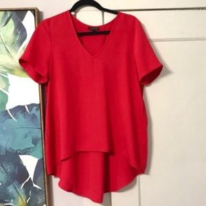 Topshop Red High Low Silky Blouse